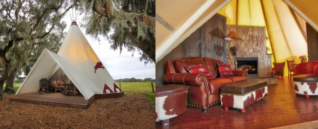 The new Luxe Teepees at Westgate River Ranch Resort & Rodeo in River Ranch, Fla. offer the next evolution in glamping (glamorous camping). Each Luxe Teepee features a double-sided stone rock hearth fireplace, screened private patio deck, microwave, mini refrigerator, leather chairs, a king bed, full sleeper sofa, air conditioning and heating, and a private ensuite bathroom with vanity and porcelain cast iron claw bathtub and shower.  www.westgateriverranch.com (PRNewsFoto/Westgate Resorts)